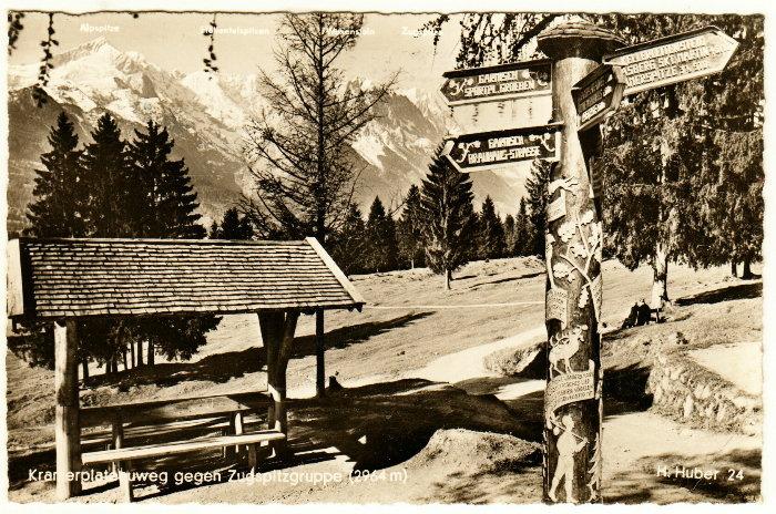 """""""Garmisch, 22.10.1956 - man kann sich drehen wie man will, es ist immer schön. Gruß und Kuß von deinem Berthold"""