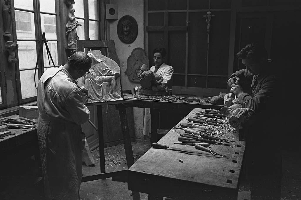 Werkstatt von Karl Kinsler, Karlsruhe, Karlstr. 7, Aufnahme: Karl Schlesiger, 19. 1962