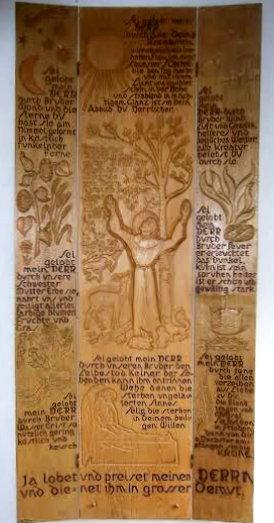 """Berthold Rumold: """"Sonnengesang des Heiligen Franziskus"""", katholisches Gemeindehaus in Pfinzal Berghausen, ca. 1985"""