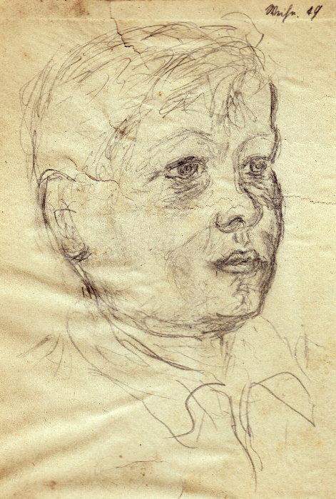 """Berthld Rumold (mit 20 Jahren): Hans Rumold (mit 9 Jahren) - Skizze auf der Innenseite eines Buches über Michelangelo, oben rechts: """"Weihn. 29"""""""
